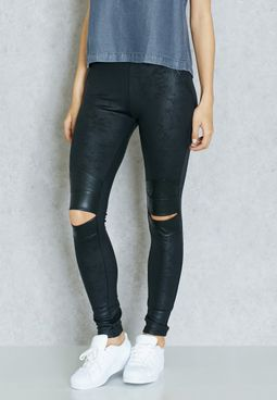 PU Knee Slit Jeggings