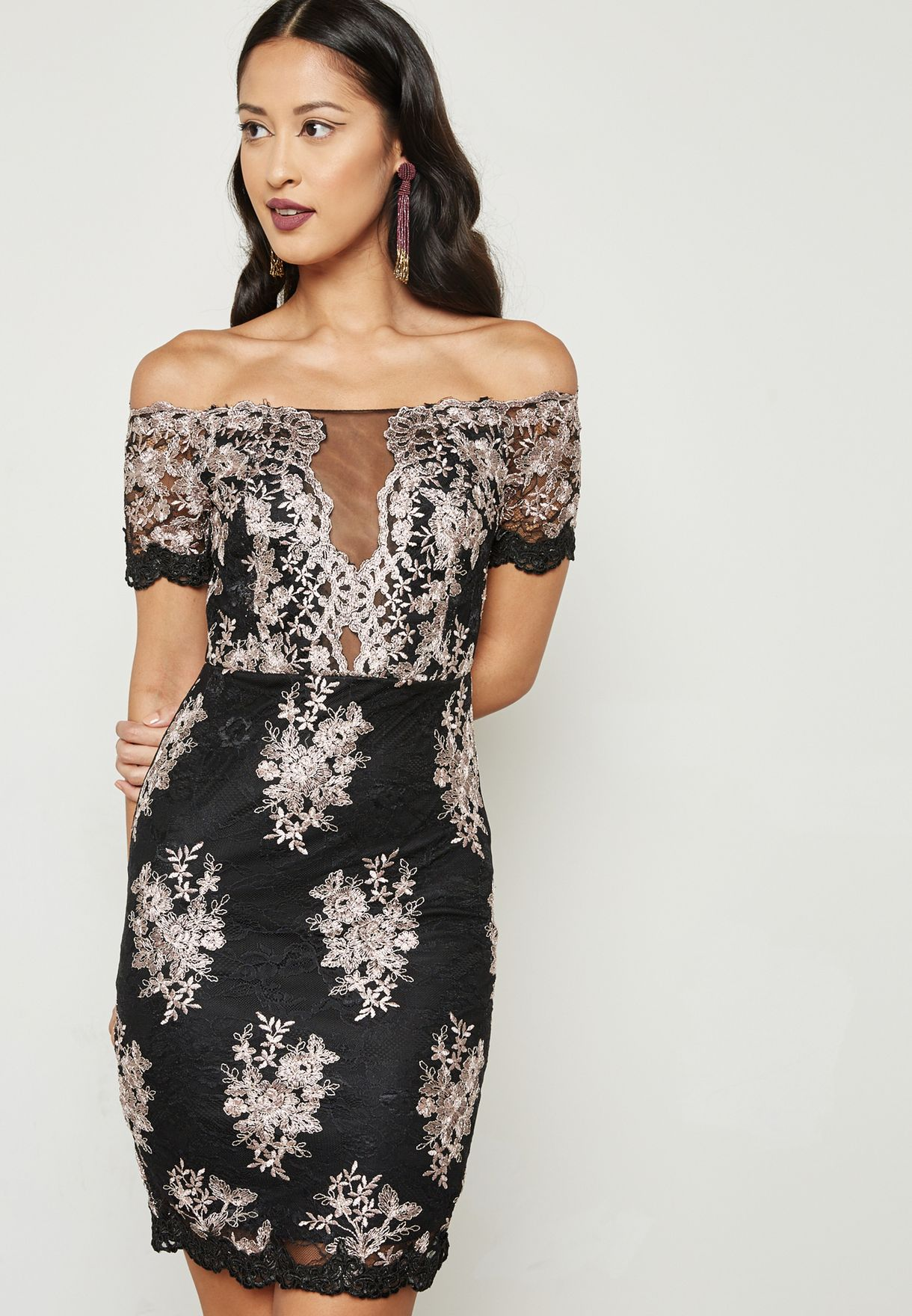 902019e7f5ccc8 Shop Soieblu black Lace Illusion Bardot Dress S17110A86 for Women in ...