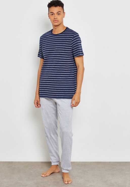 Jaquard T-Shirt And  Suede  Pant Set