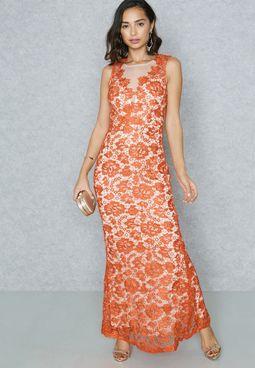 Lace Bodycon Maxi Dress