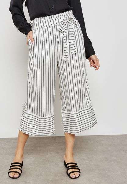 Pinstripe Trousers - Black/white stripes Jacqueline de Yong