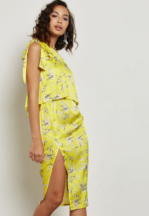 Floral Print One Shoulder Dress