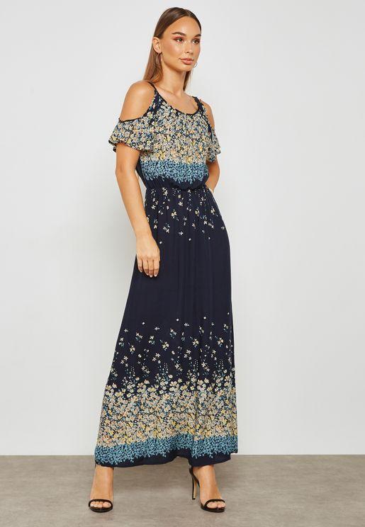 Printed Cold Shoulder Elastic Waist Midi Dress