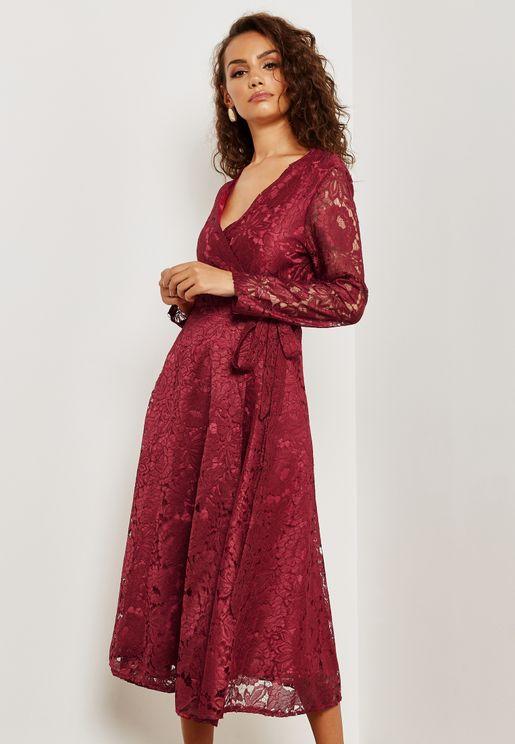 Wrap Front Lace Dress