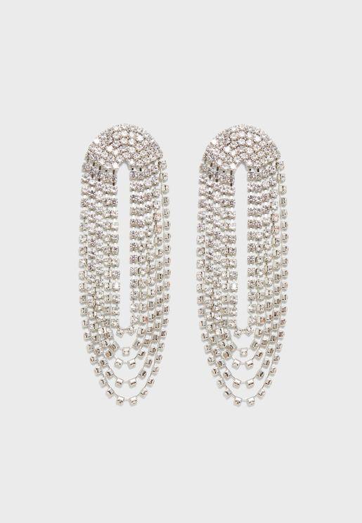 Layered Rhinestone Drop Earrings