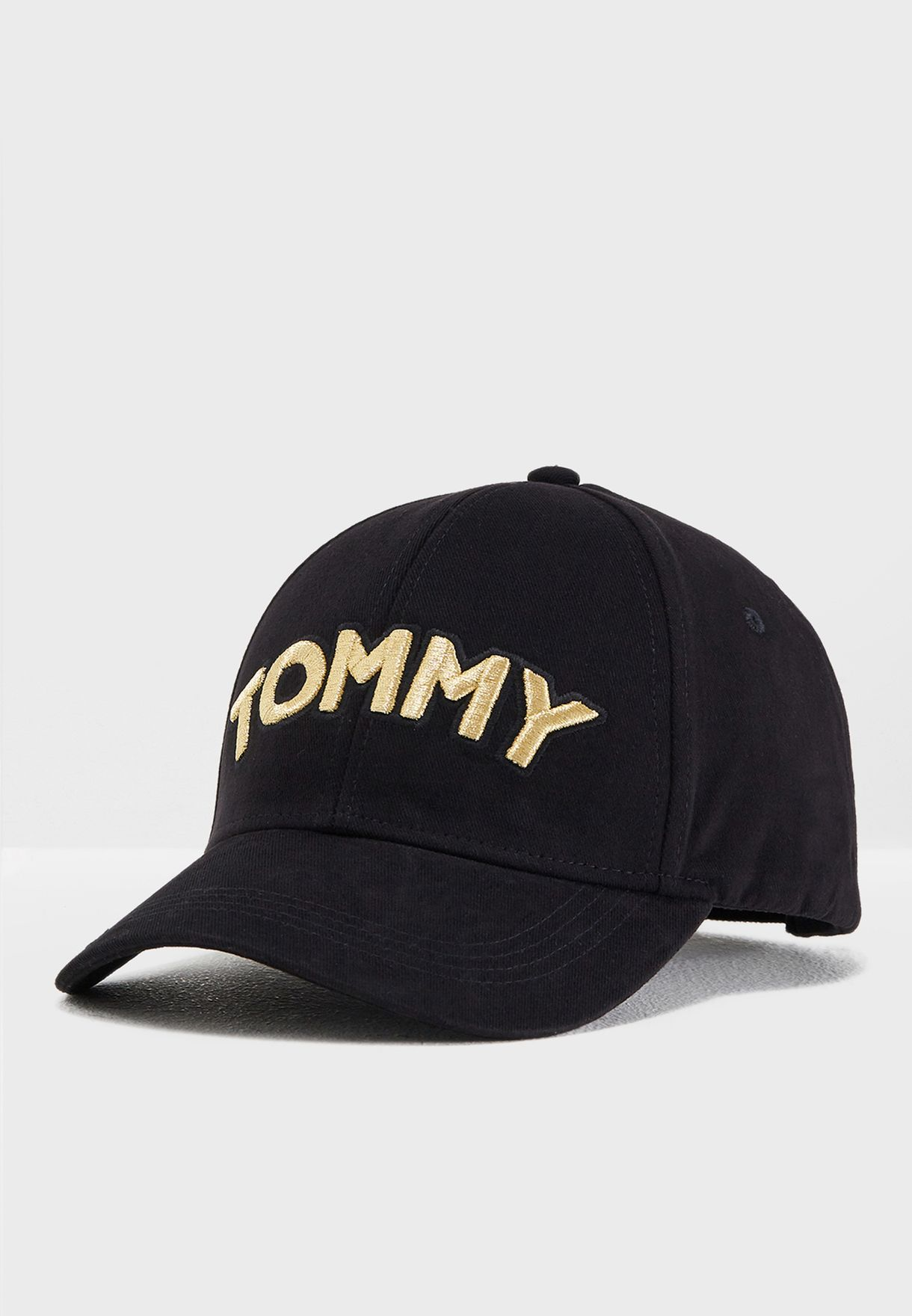 shop tommy hilfiger black tommy patch cap aw0aw05945 for women in