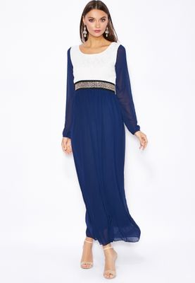 Jana Imaan Embellished Waist Lace Top Dress