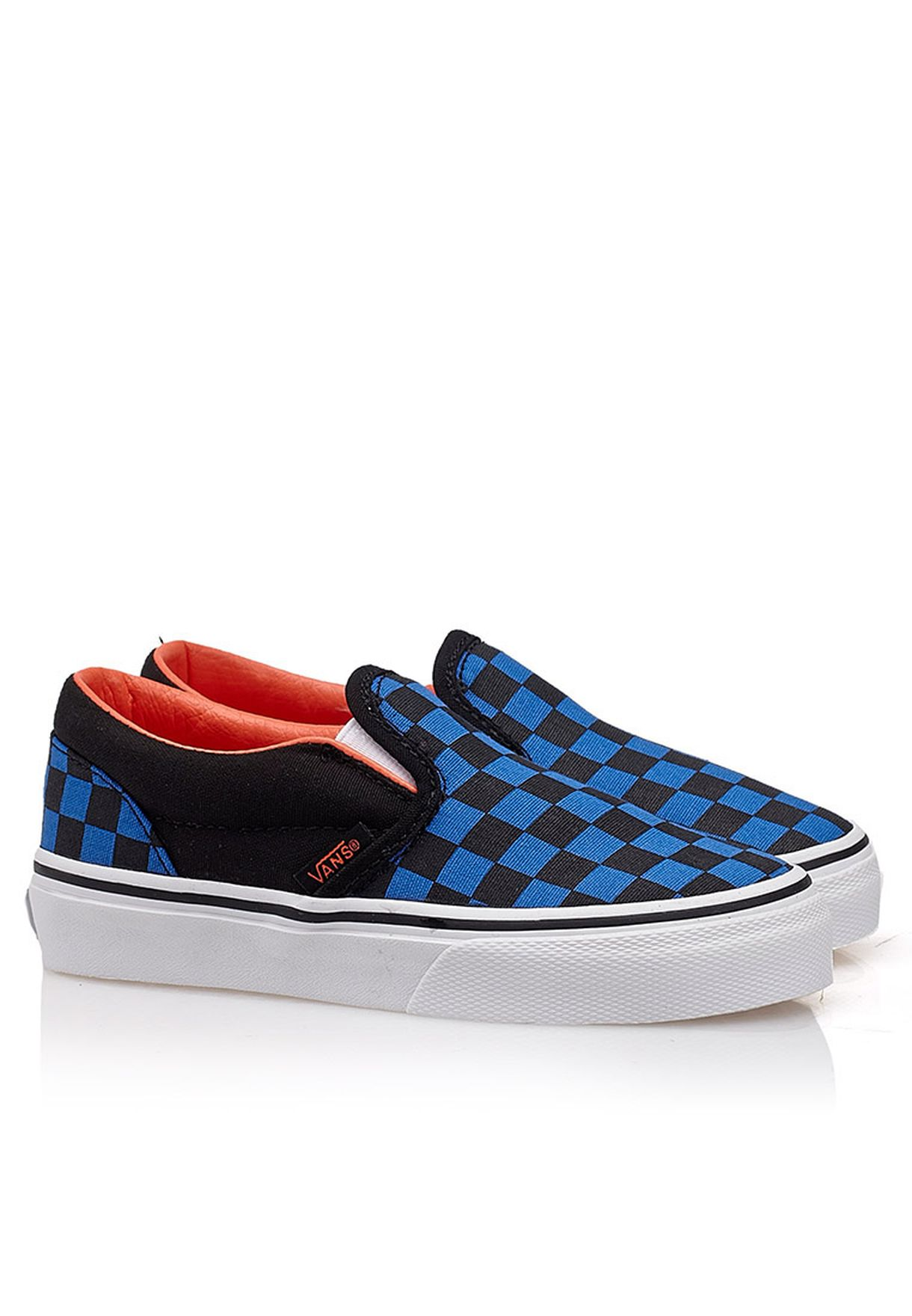 39cfe1d072398c Shop Vans blue Classic Checkerboard Slip Ons for Kids in UAE ...