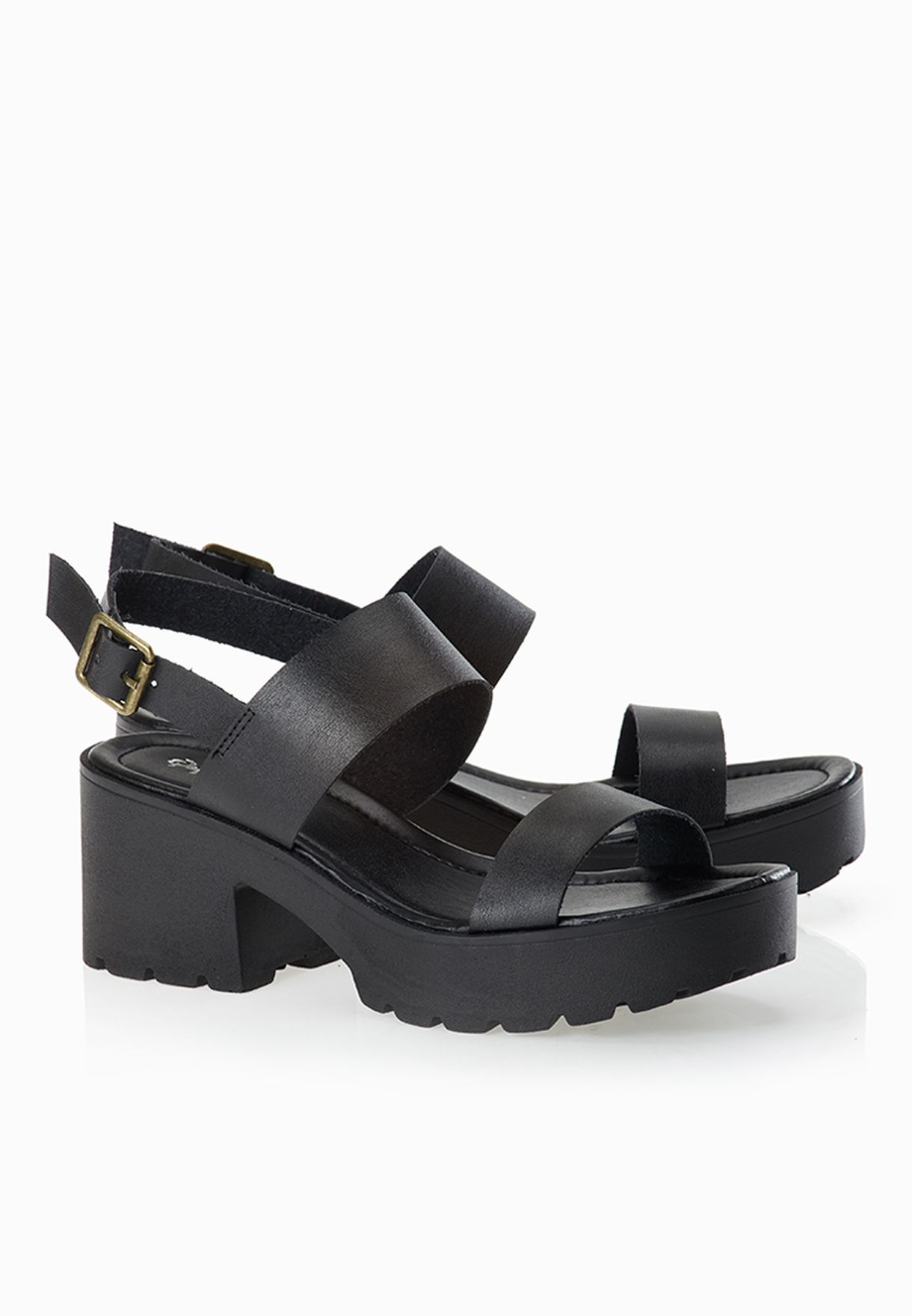 45285a17417c Shop Qupid black Soulful Chunky Heel Buckle Sandals SOULFUL-03 for ...