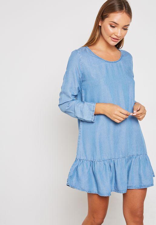 Ruffle Denim Dress