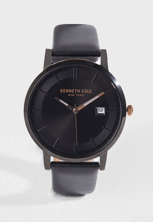 KC15202004 Genuine Leather Rose-Gold Tone Watch
