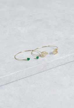 2 Pack  Palm Leaf & Stone Bangles