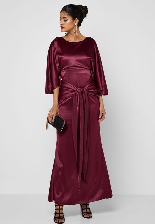 Tie Front Satin Dress