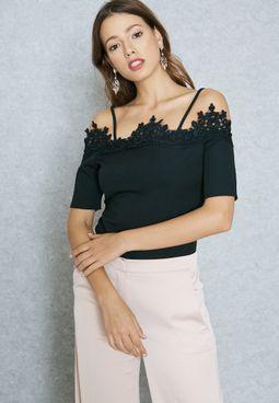 Lace Trim Cold Shoulder Body