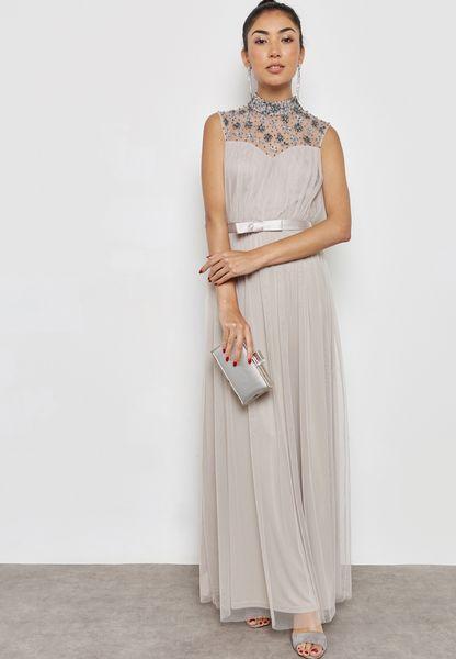 High Neck Sheer Detail Dress