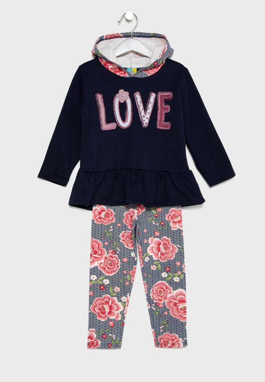 Little Hooded Sweatshirt + Pants Set