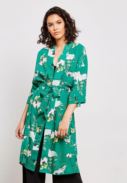 Printed Tie Waist Kimono