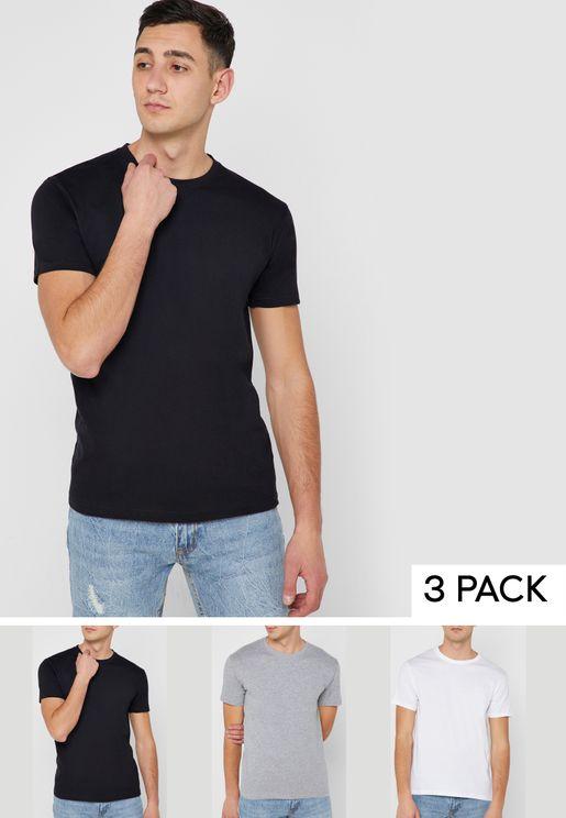 3 Pack Basic Crew Neck T-Shirts