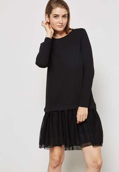 Sheer Frill Detail Dress