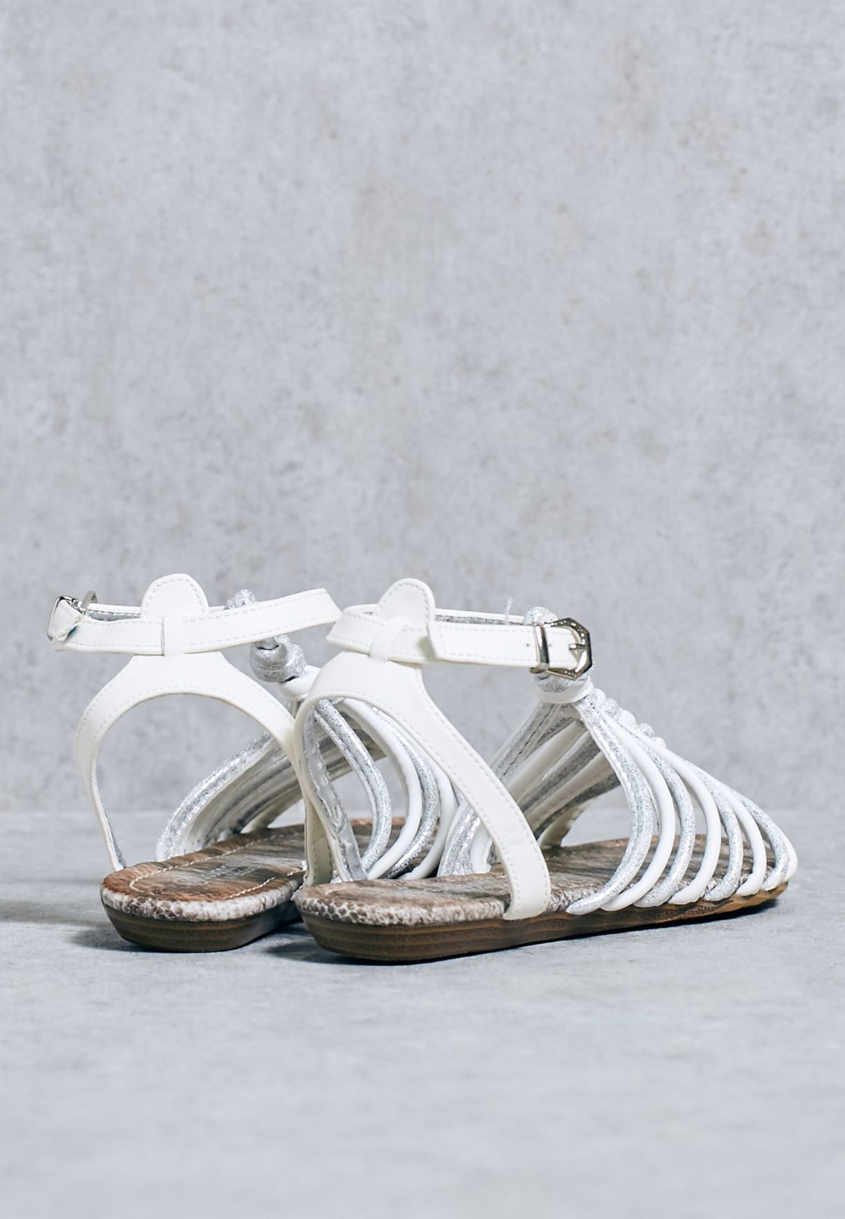 4babc38e22a2d6 Shop Savannah collection white Caged Sandals for Women in Oman ...