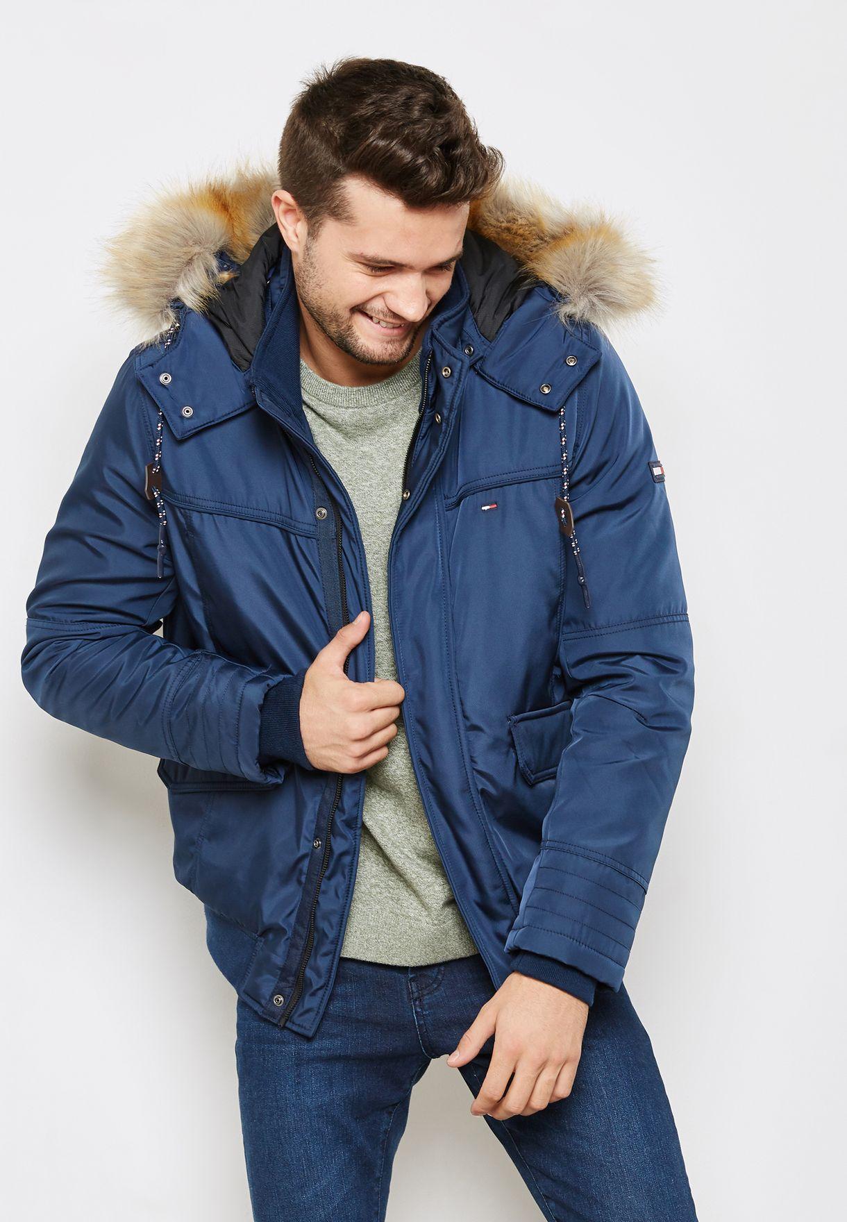 fe9b5ff9 Shop Tommy Hilfiger navy Hoodied Jacket DM0DM02851 for Men in UAE ...