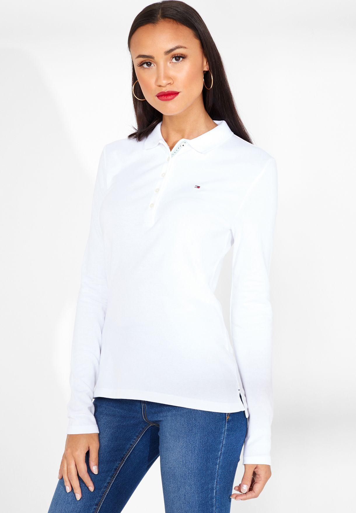 22937137 Shop Tommy Hilfiger white Long Sleeve Logo Polo T-Shirt WW0WW01394 ...