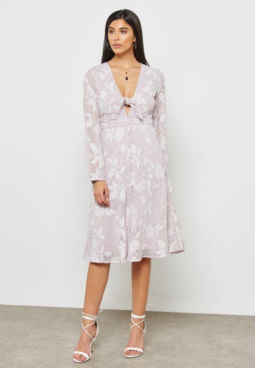 Front Tie Detail Shirt Dress
