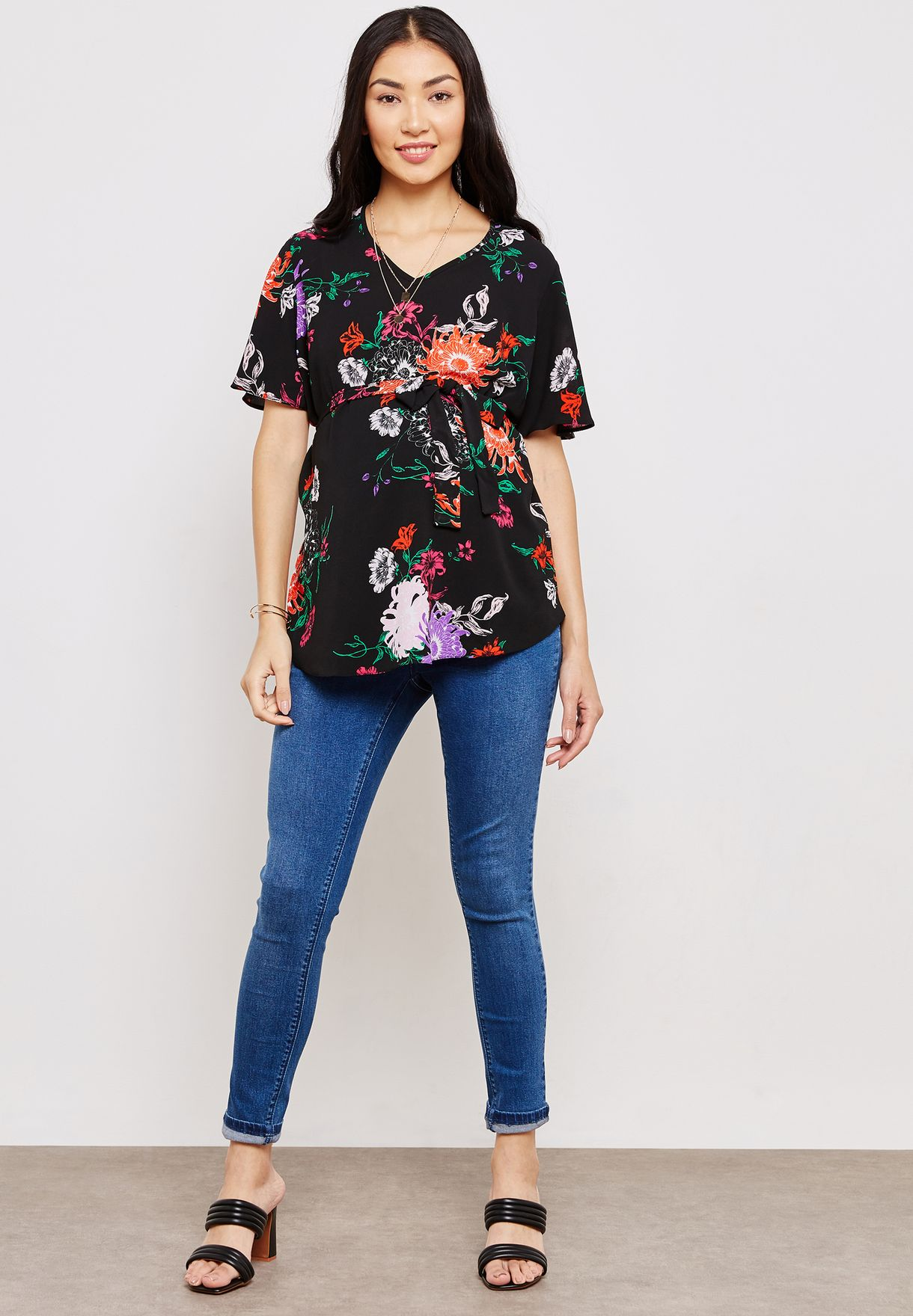 Floral Print Belted Top