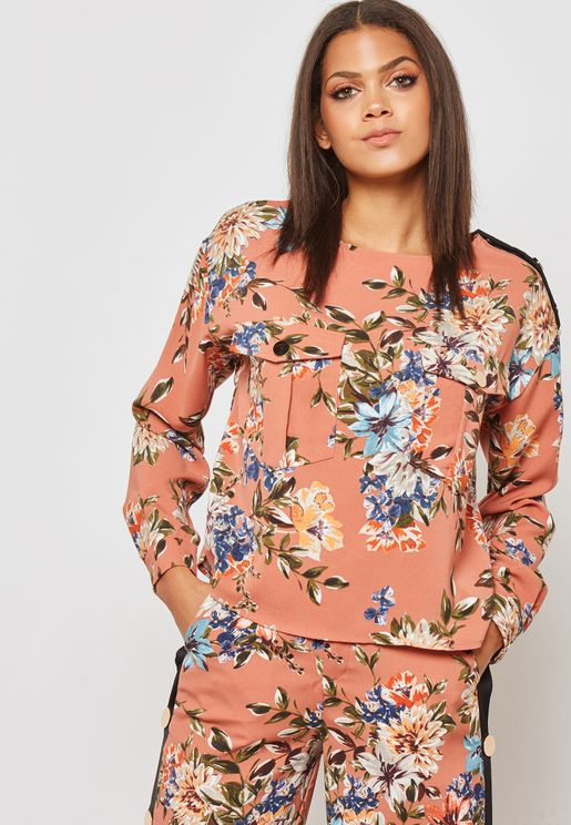Floral Print Button One Side Shoulder Top