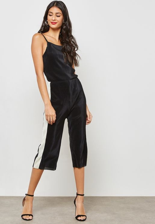 Plisse Side Paneled Culotte Jumpsuit