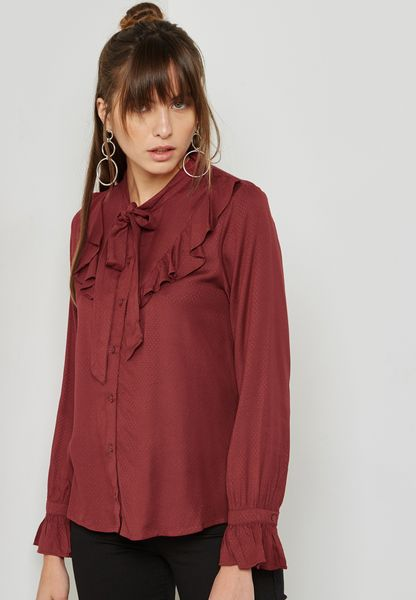 Frill Detail High Neck Top