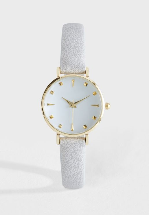 Metallic Finish Faux Leather Strap Watch