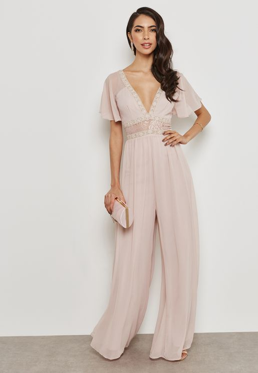 Lace Detail Plunge Jumpsuit