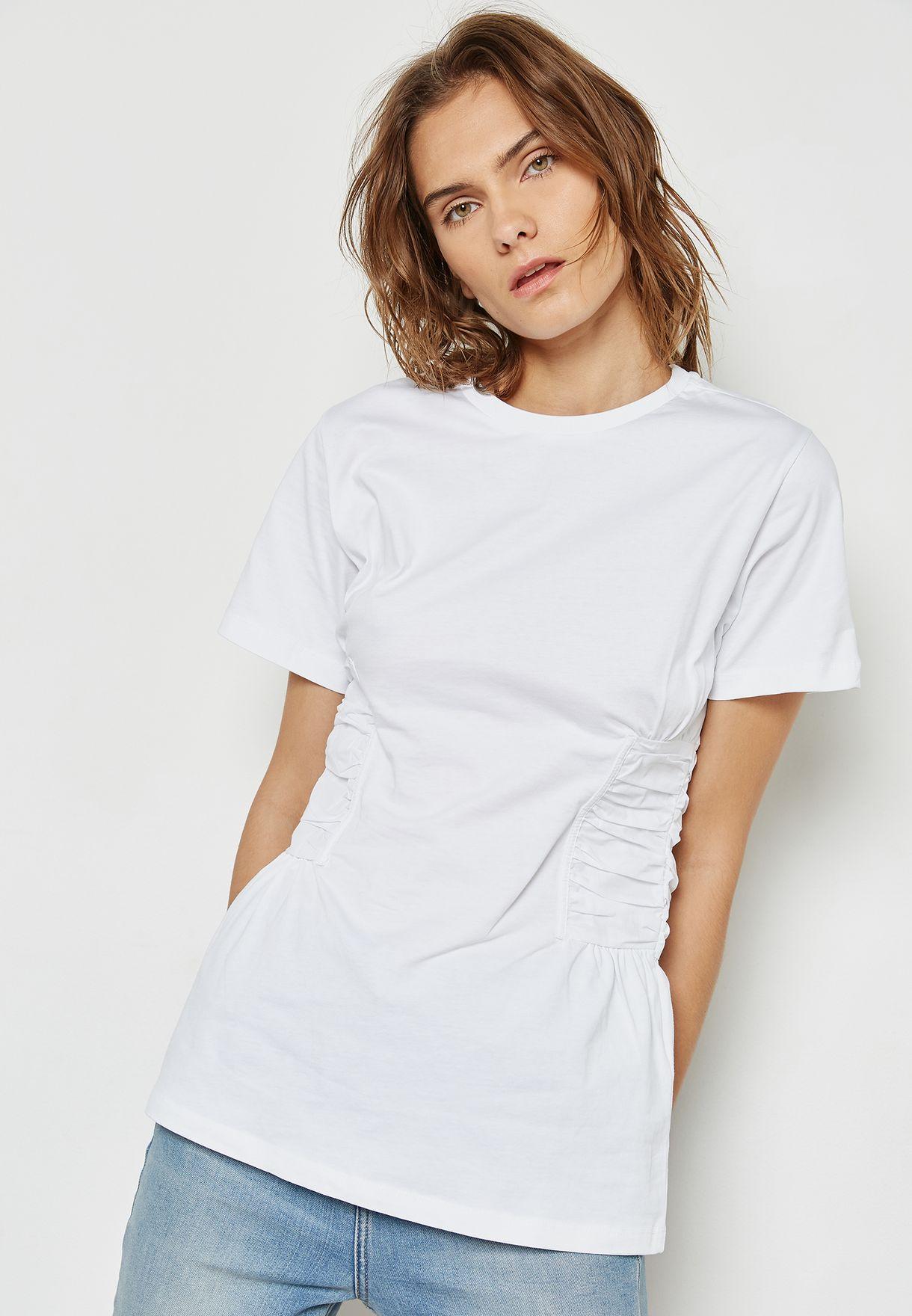 e4d3d92c198 Shop Topshop white Corset T-Shirt 04P07MWHT for Women in UAE ...