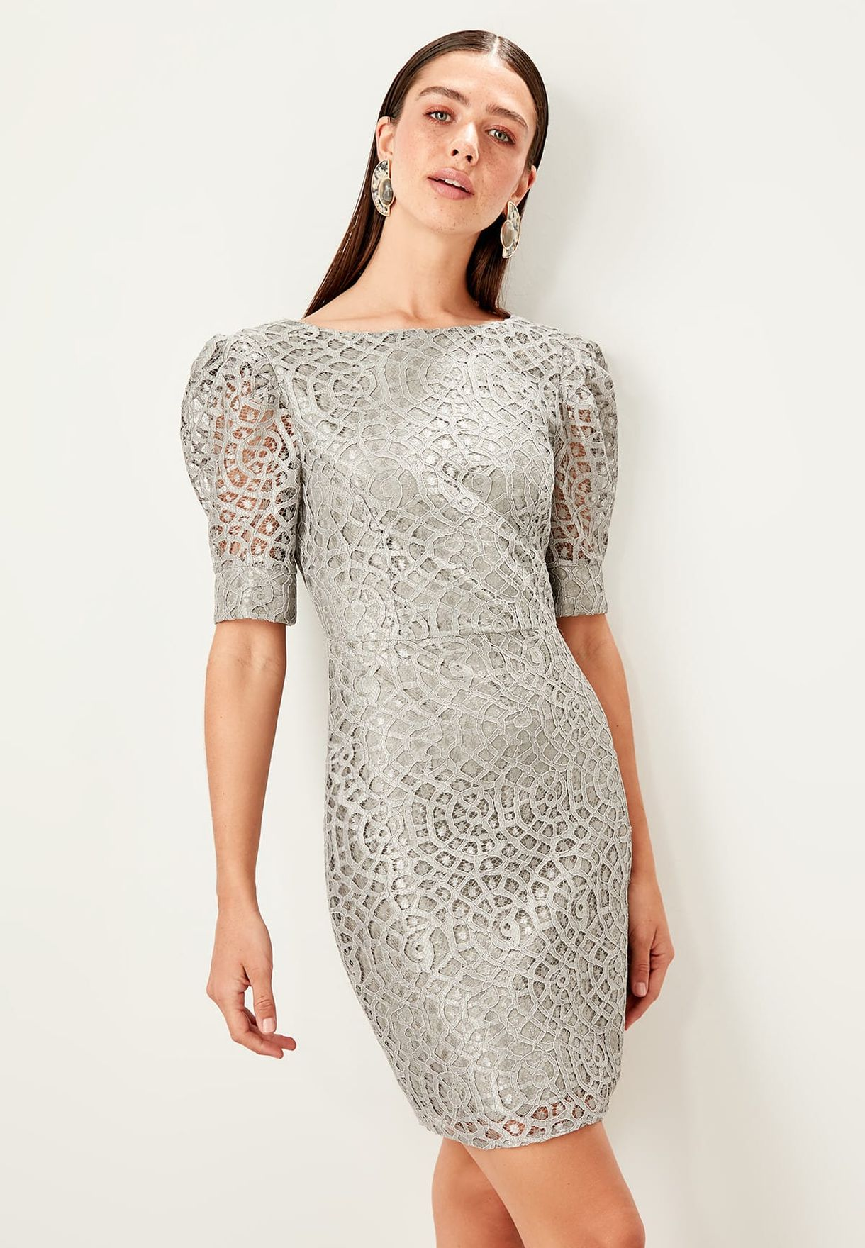 Puff Sleeve Lace Bodycon Dress