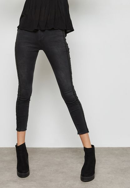 Lace Up Side Skinny Jeans