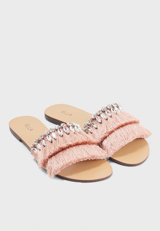 Ava Embellished Frayed Slip-Ons