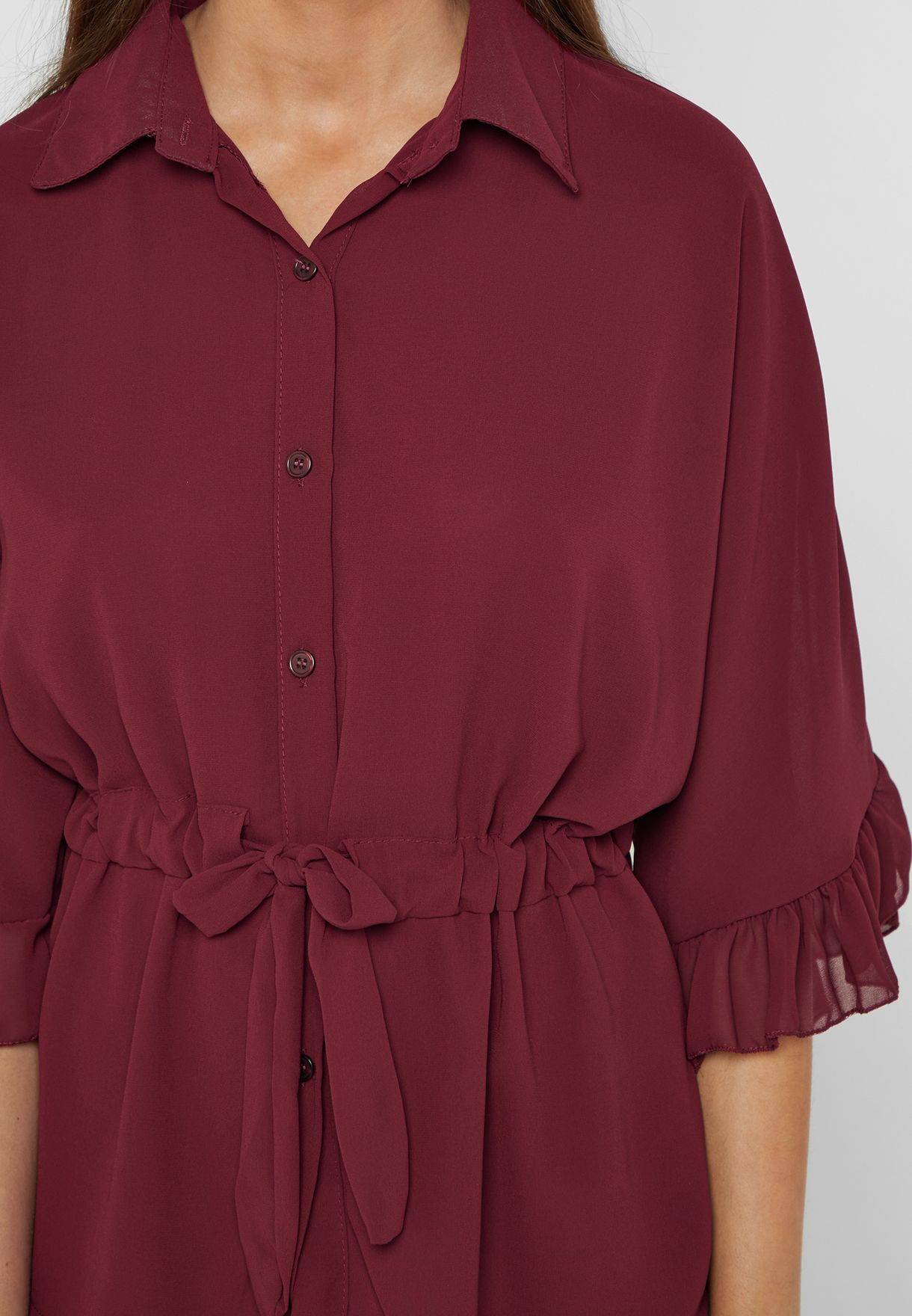 Ruffle Sleeve Drawstring Shirt