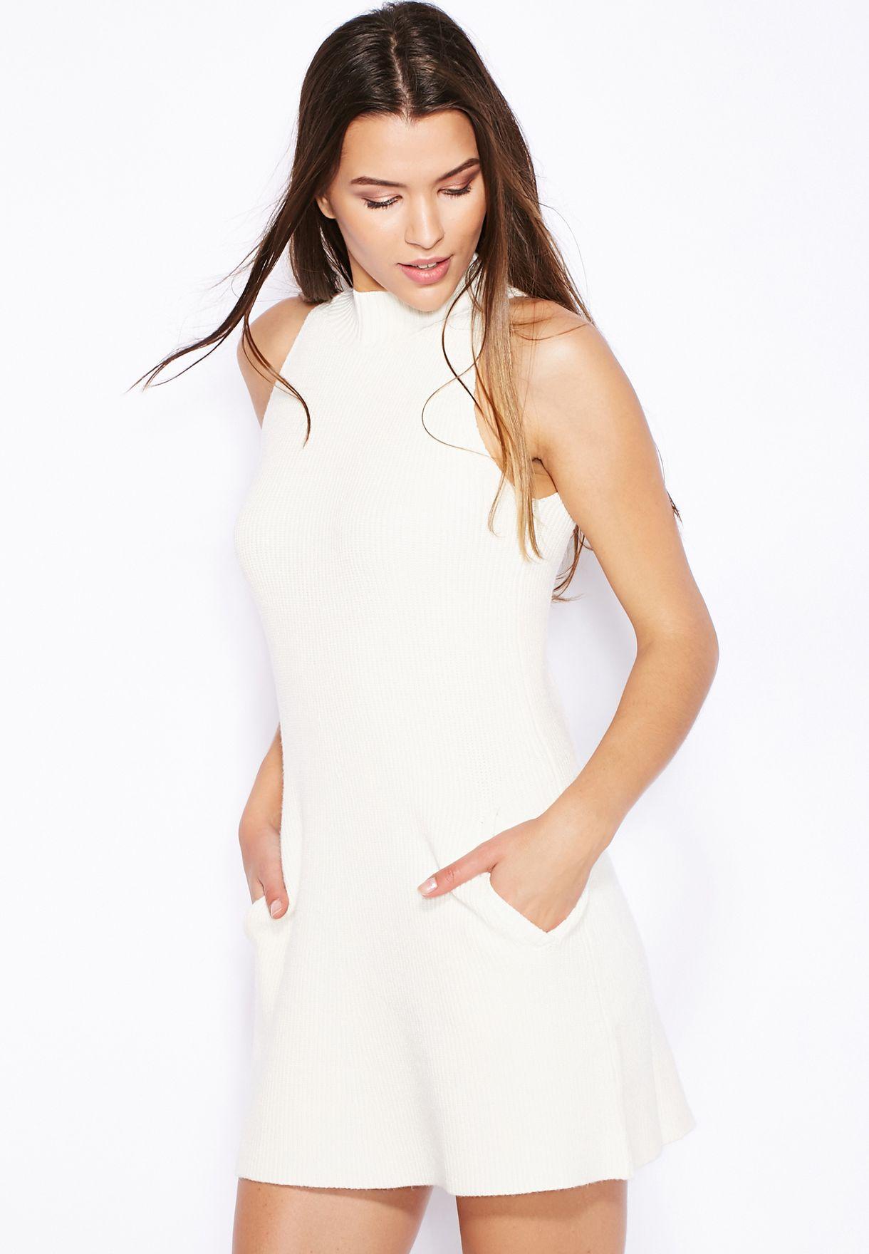 bd54ff912f Shop Miss Selfridge white Knitted Swing Dress for Women in UAE ...