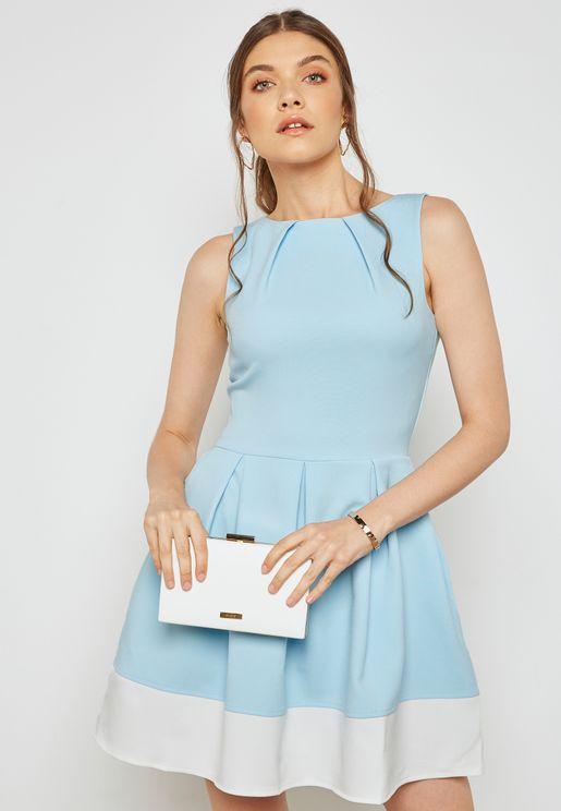 Pleated Colourblock Stripe Dress