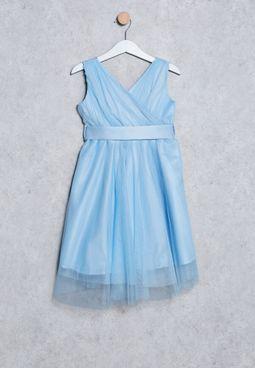 Kids Satin Belt Dress