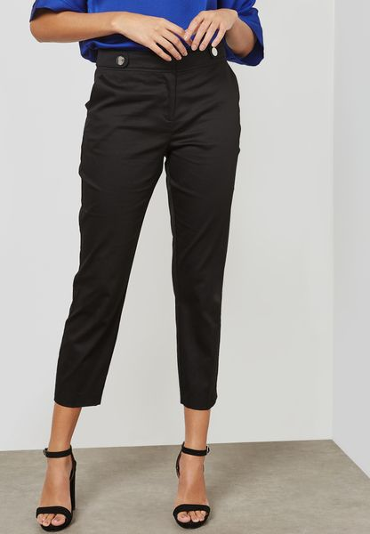 Tab Buttoned Ankle Grazer Pants