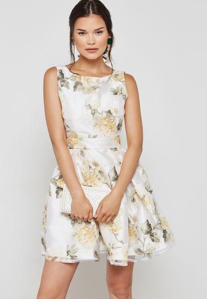 Leaf Print Skater Prom Dress