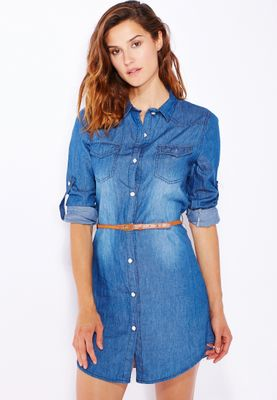Ginger Belted Denim Shirt Dress