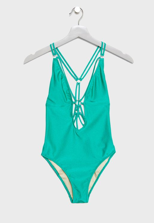 Plunge Strappy Back Swimsuit