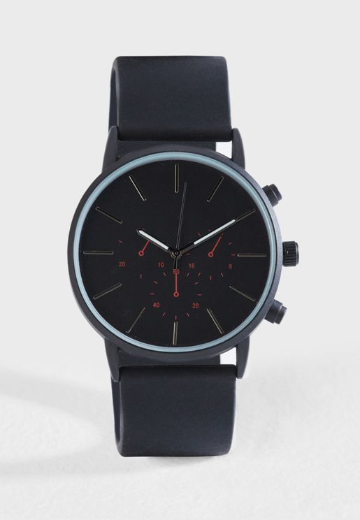 Faux Leather Analogue Watch