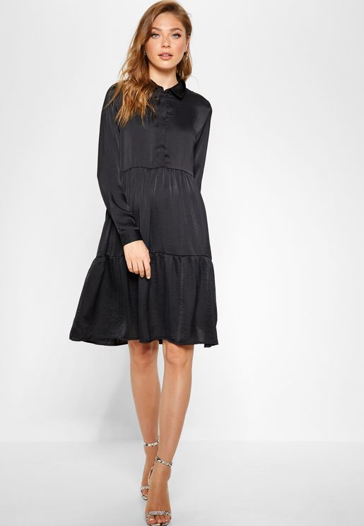 Tiered Shirt Dress