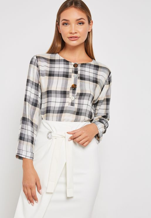 Button Detail Checked Top