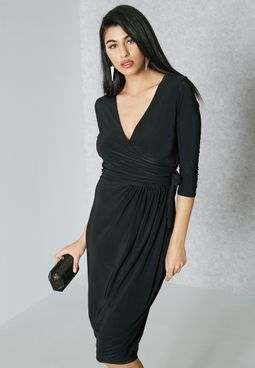Wrap Front Self Tie Dress