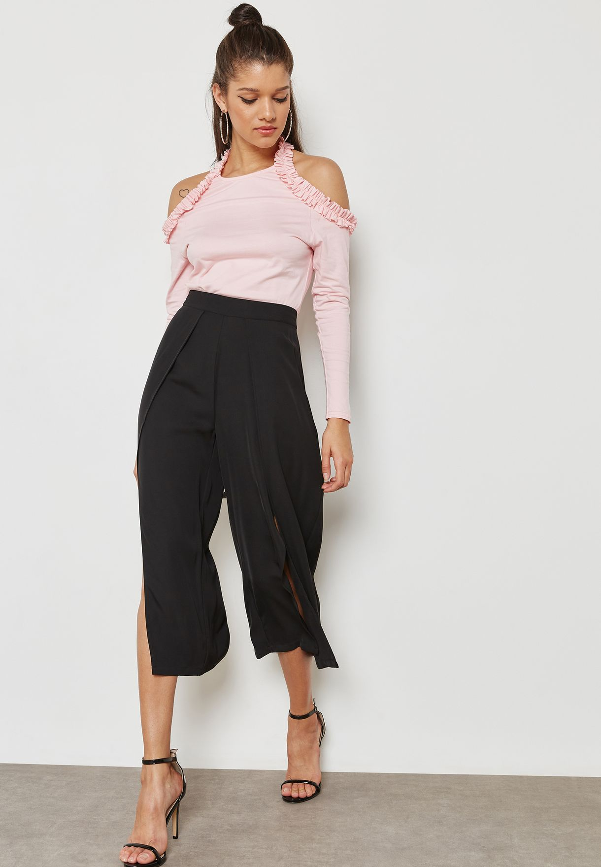 Side Split Wide Leg Pants